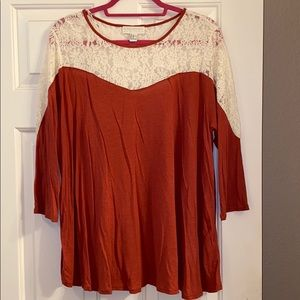Forever 21 Red/Orange Top with Cream Details